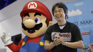 Japanese video game designer Shigeru Miyamoto introduces the Nintendo's Mario Maker during a press event at the Nintendo booth at the Electronic Entertainment Expo on Wednesday, June 11, 2014, in Los Angeles. (AP Photo/Jae C. Hong)