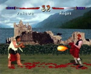 O personagem Angus solta uma bola de fogo por debaixo de seu kilt.